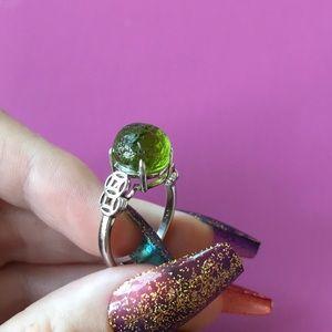 Moldavite Meteorite Genuine Sterling Silver Ring